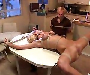 Bound Gangbang tied to a bench and fucked